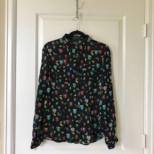 Modcloth black owl print shirt, size M